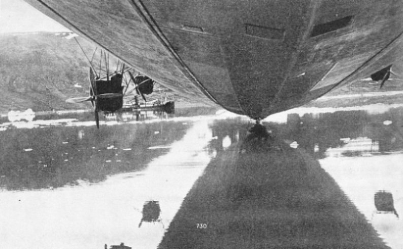 DURING HER ARCTIC VOYAGE the Graf Zeppelin alighted on the water near the Russian steamer Malygin
