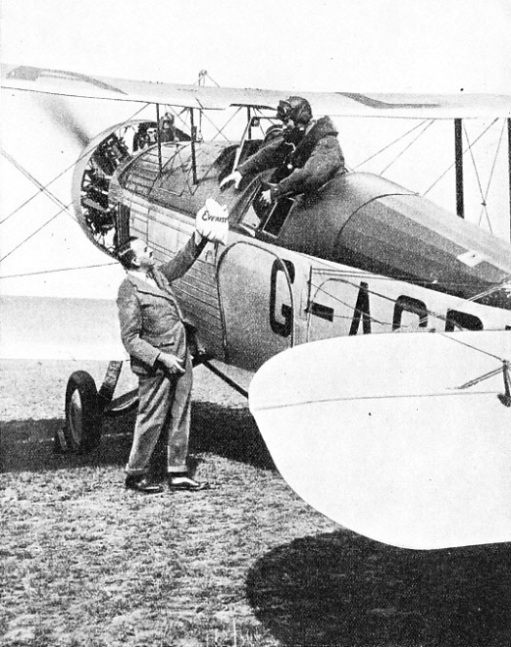 THE EVEREST MAIL being handed over to the pilot of the Westland Wallace machine