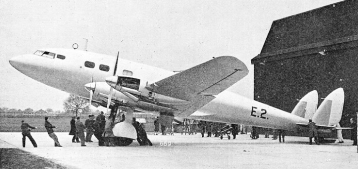 This photograph shows a De Havilland Albatross type aircraft being brought out for flight trials
