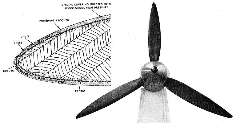 COVERED WOODEN BLADES form this airscrew of 11 feet diameter
