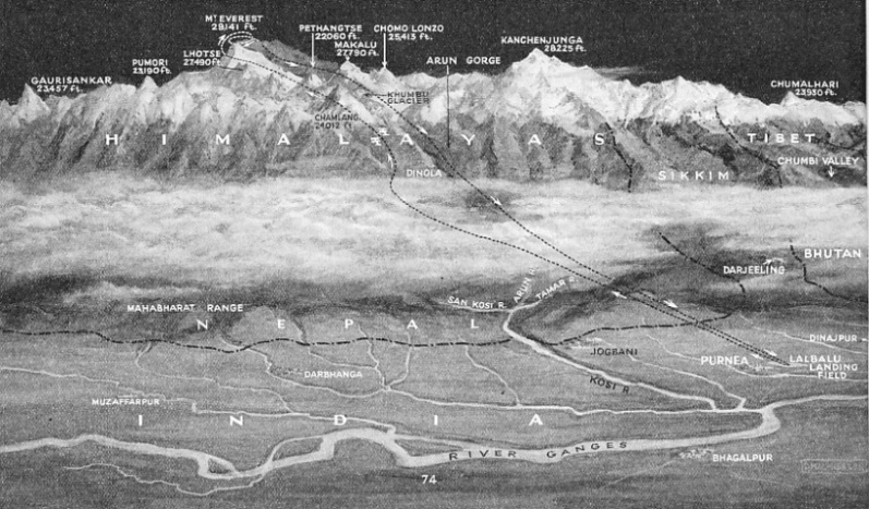SKETCH OF THE FLIGHT ACROSS THE HIMALAYAS from Purnea, in Bihar, over Mount Everest and back