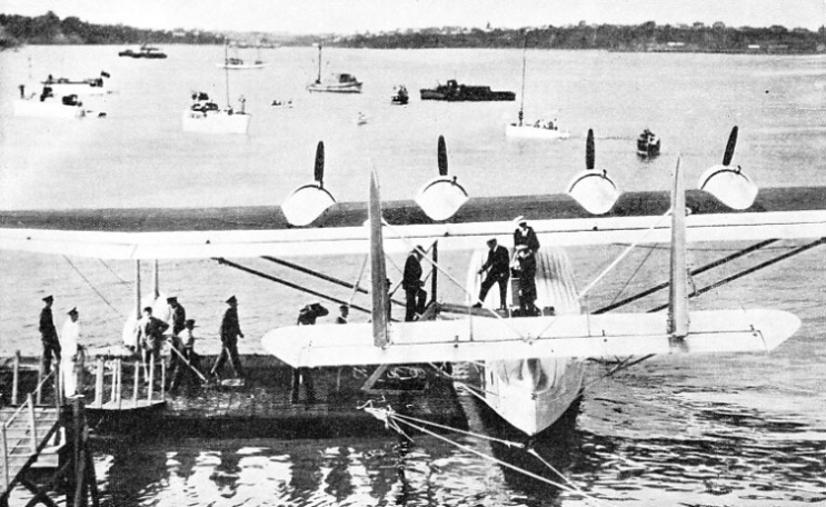 THE PAN AMERICAN AIRWAYS FLYING BOAT, SAMOAN CLIPPER, in the harbour at Auckland