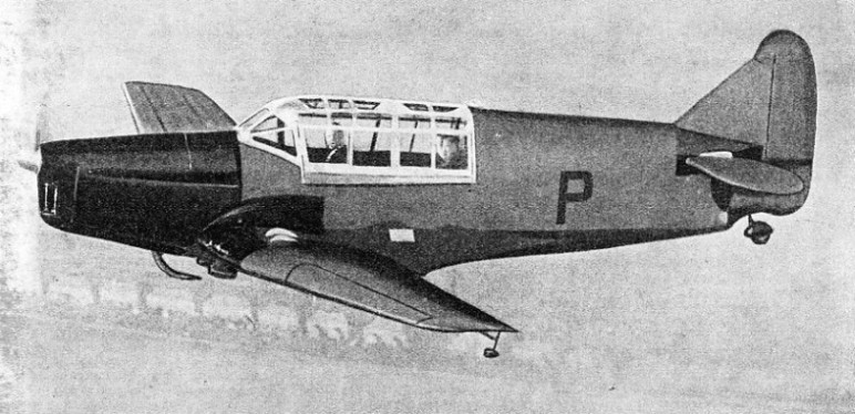 This Hendy Heck is equipped with such devices as Handley Page slots and flaps