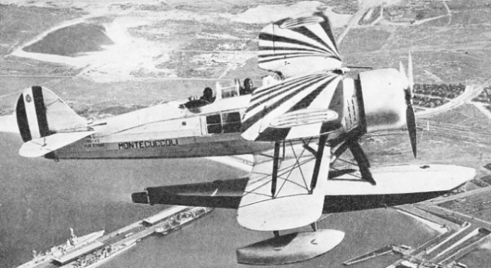 A Meridionali Ro.43 seaplane launched from the Italian cruiser Raimondo Montecuccoli