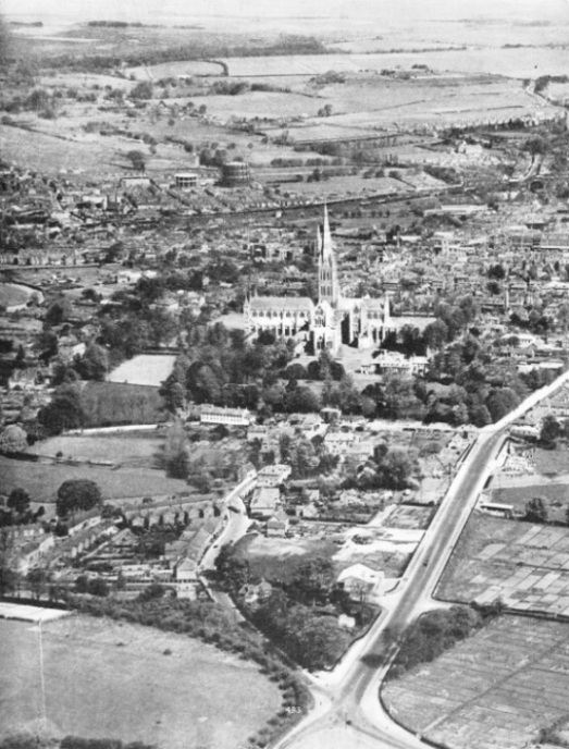 Salisbury cathedral from the air