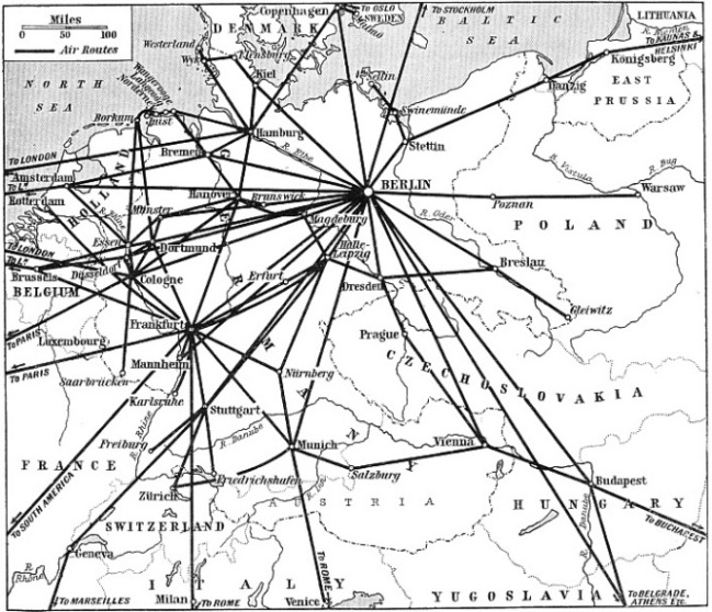 Map showing the German Airways