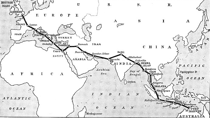 The Route Followed in the First England-Australia Flight
