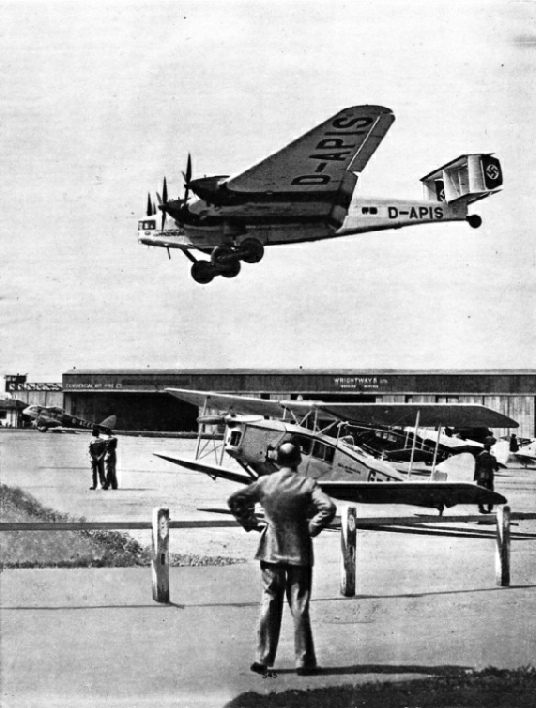 A GERMAN JUNKERS G38 AIR LINER arriving at Croydon Airport