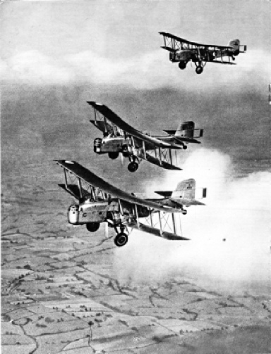 TWIN-ENGINED BOMBERS IN FORMATION FLIGHT