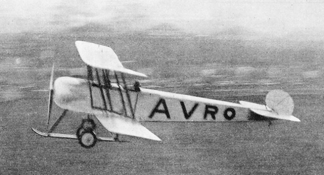 THE FIRST AVRO 504 making a landing at Hendon in May 1913