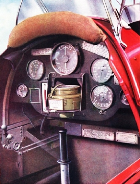 PILOT'S COCKPIT of a Tiger Moth equipped for blind flying