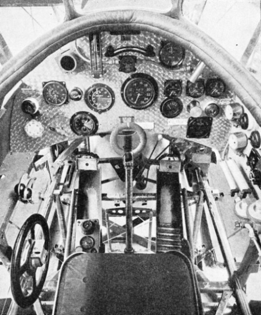 PILOT'S COCKPIT in the Houston-Westland aeroplane used in the fights over Everest in 1933