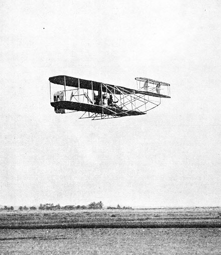 Lefebvre in a Wright Biplane