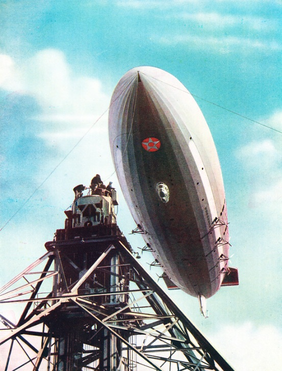 The US Airship Macon Being Moored