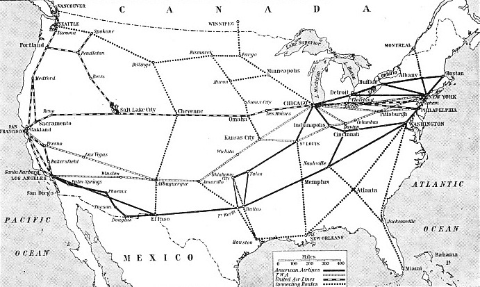 THE PRINCIPAL AIR ROUTES OF THE UNITED STATES